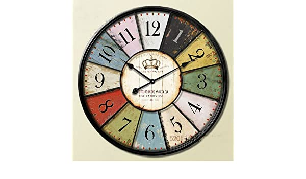 Amazon.com: Fake Metal Art Vintage Wall Clock Wooden Antique Clocks Mediterranean Home Decorative Gifts Style: Home & Kitchen