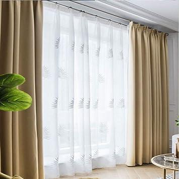 Amazon.com: HCMPS Blackout Curtains Solid Color Thick Cotton ...