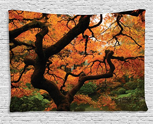 ecor Collection, Vivid Japanese Maple Trees Deep Dark in the Forest Quite Meditative Environment Photo, Bedroom Living Room Dorm Wall Hanging Tapestry, 60 X 40 Inches, Orange Brown ()