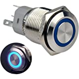 "Ulincos Momentary Push Button Switch U16F1 1NO1NC Silver Stainless Steel Shell with 12V Blue LED Ring Suitable for 16mm 5/8"" Mounting Hole (Blue)"