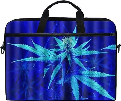 SIONOLY 15-15.4 Inch Estuche para Laptop,Diseño único de Hojas de Marihuana,Nueva computadora portátil Messenger Satchel Maletín Bolsas de Hombro de Trabajo 15-15.4