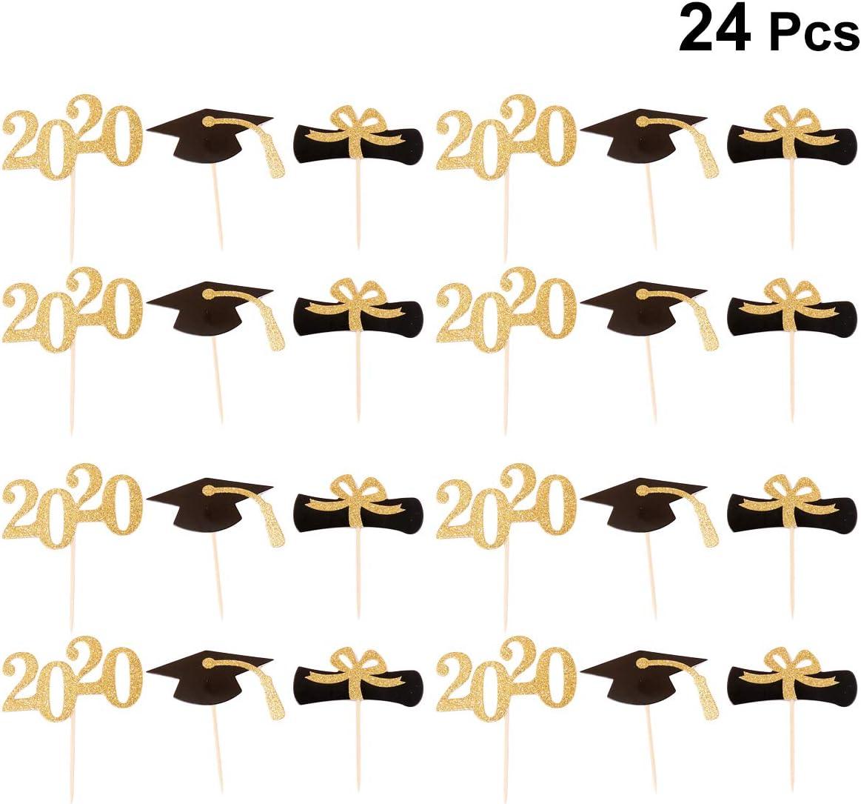Amosfun 24pcs 2020 Congrats Grad Cake Topper Class of 2020 Graduate Party Decorations Supplies - High School Graduation, College Graduate Cake Topper - Graduation Photo Props
