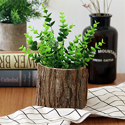 Yunhigh Wood Flower Pot With Bark Natural Willow Small Cactus Succulent Log Planter Box Decorative Hand-Crafted Rustic Flowerpot Container - Small Rustic Willow