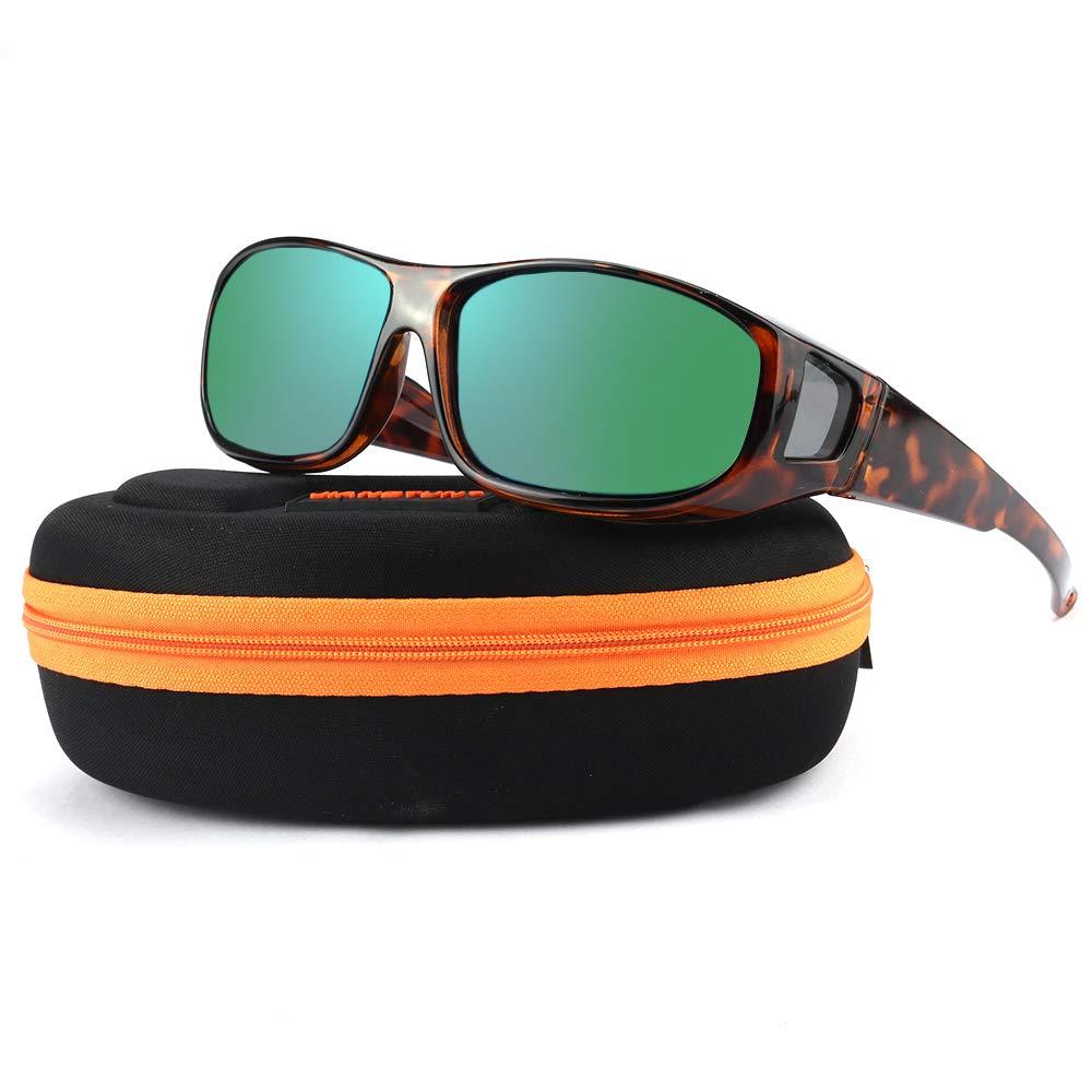 Oversized Prescription Sunglasses Polarized for Women and Men Fit Over Rx Sun Glasses (Tortoise Frame Green Mirrored Lens)