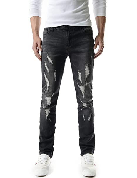 6004495bca (TJ1198) Mens Casual Slim Fit Vintage Distressed Destroyed Washing Denim  Jeans