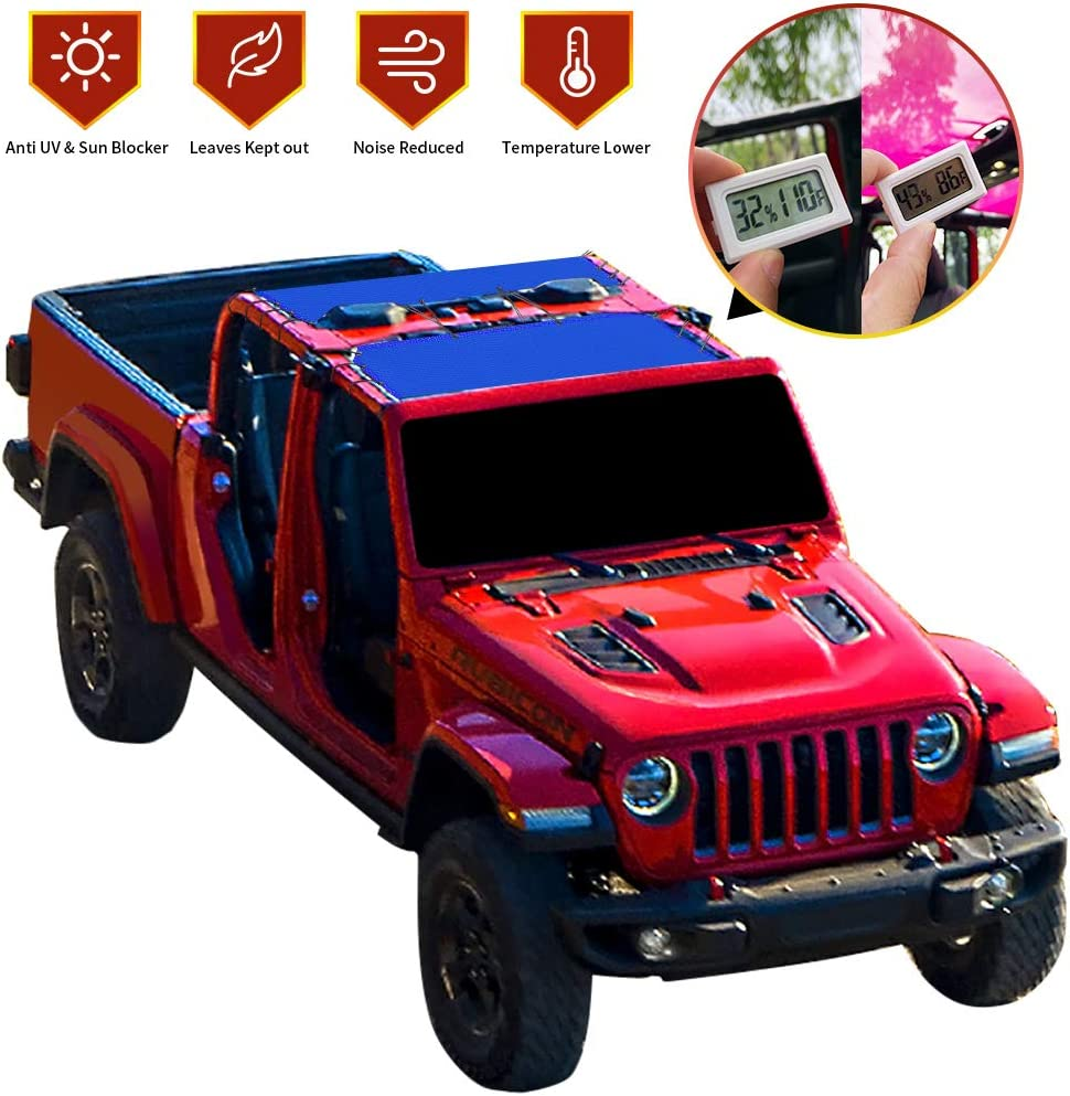- 10 Years Lasting Front /& Rear 2-Pieces JT 4 Door Top Sunshade UV Blocker with GrabBag Pouch - Orange Mesh Screen Wrangler Cover 2018 - Current Shadeidea Sun Shade for Jeep Gladiator