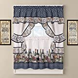 DH 3 Piece 24 Inch Blue Color Chateau Wines Cottage Kitchen Curtain Tier & Valance Set, White Background Medallion Pattern Cabin Lodge Motifs Southwest Country Vintage Traditional Vibrant, Polyester