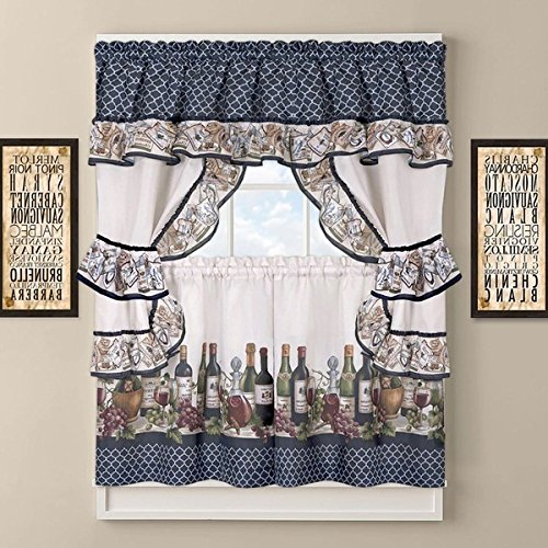 3 Piece 36 Inch Blue Color Chateau Wines Cottage Kitchen Curtain Tier & Valance Set, White Background Medallion Pattern Cabin Lodge Motifs Southwest Country Vintage Traditional Vibrant, Polyester