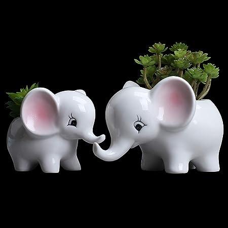 1 PC de Elephant Design Bambou Fleur Cactus Plante jardiniere céramique vernissée Pot