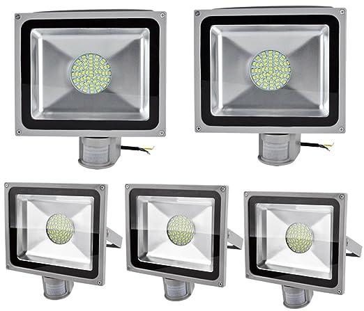 Leetop 5X Interior y Exterior 50W LED Focos Blanco Frio con Sensor de Movimiento,con
