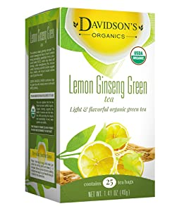 Davidson's Tea Lemon Ginseng Green, 25-Count Tea Bags (Pack of 6)