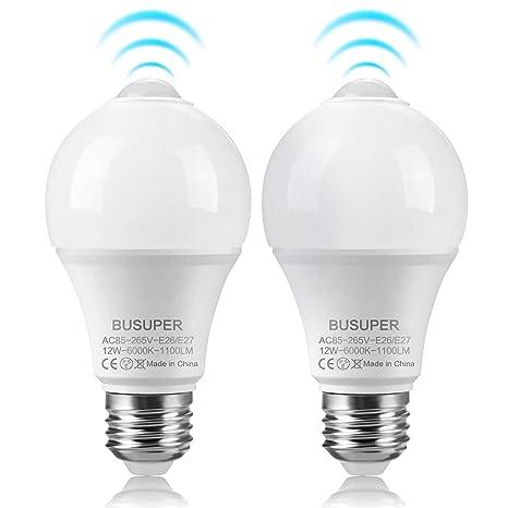 12 W Sensor de movimiento luz bombilla, c-lan infrarrojos LED bombilla, E26