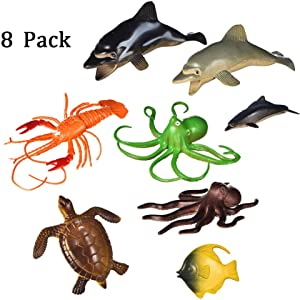 Terraneos Supper Cute Ocean Sea Animal Home Decorative, 8 Packs Set-Realistic, Dolphin Turtle Octopus Figure Sea Creatures Models Kids Toy