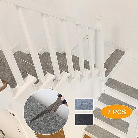 Topup - Juego de 7 Alfombrillas Antideslizantes Autoadhesivas para escaleras, Color Gris Claro, 55 x 20 cm, Gris Claro, 55 x 20 cm/21.65 x 7.87 in: Amazon.es: Hogar