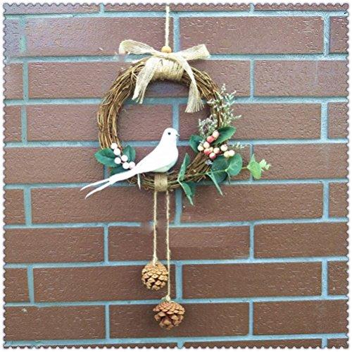 DEBON Door Wreath Wall Decoration Rattan Handmade Emulation Cane Garland Decor Artificial Flower Berries Fake Leaves Realistic Bird for Window Balcony Hallway Vestibule Wedding Christams Photo (Vestibule Spring)