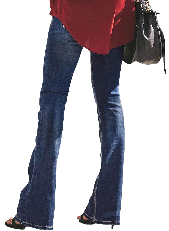 Amazon.com: NOMILANDA Womens Bell-Bottom Denim Jeans ...