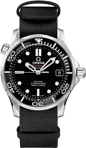 Omega Seamaster - Reloj de pulsera para hombre (acero inoxidable, correa de nailon negro