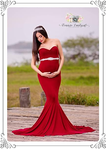 Don/&Judy Womens Elegant Fitted Boob Tube on Top Maternity Photography Dress Wine Red