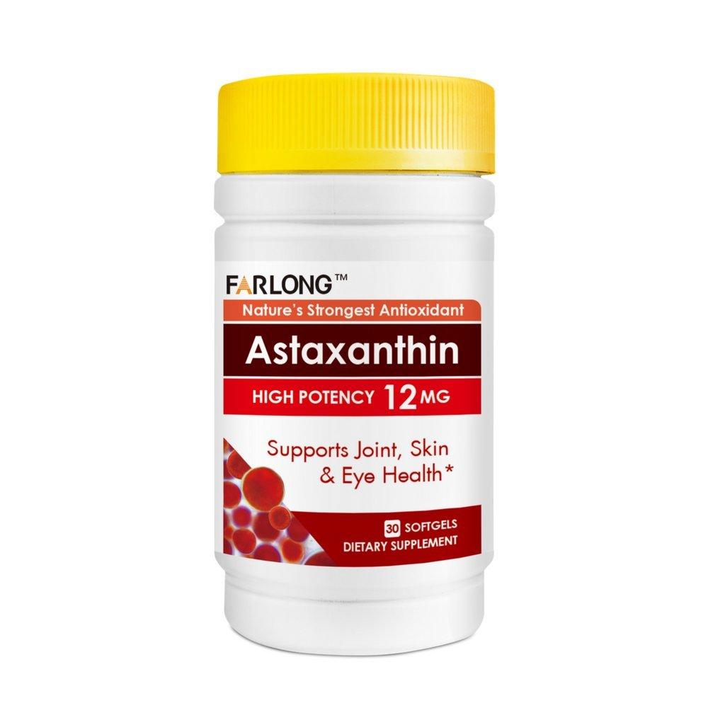 Farlong Astaxanthin 12mg, 30 Softgels, High Potency, Supports Heart, Joint, Skin and Eye Health Naturally, Powerful Antioxidant