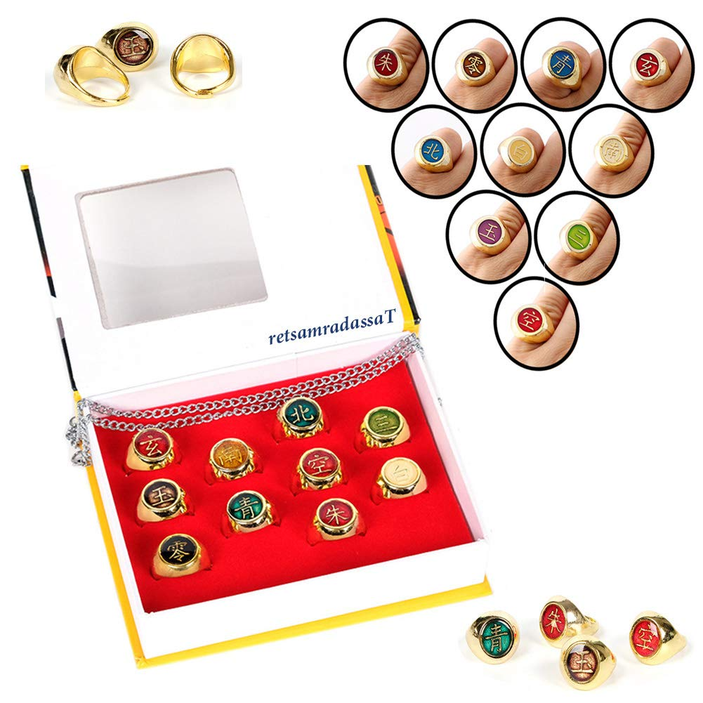 retsamradassaT 10 Pieces Naruto Shippuden Akatsuki Member's Cosplay Golden Metal Ring, Full Jewelry Accessory Set with Necklace Chain in a Box by retsamradassaT