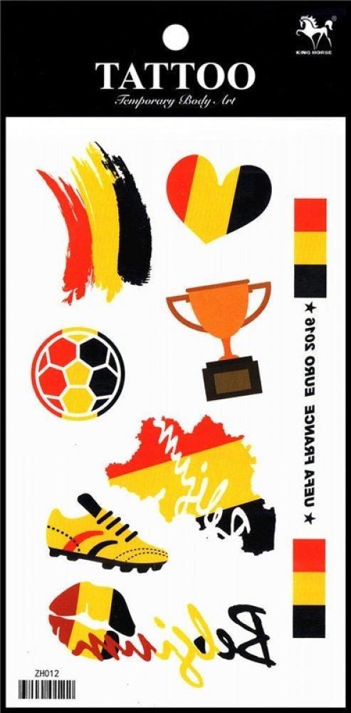 Wonbeauty and nice 2016 European Football Championship Belgium Flag fake and real temp tattoo stickers