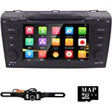 Hizpo 7 inch Double Din In Dash HD Touch Screen Car DVD Player GPS Navigation Stereo For Mazda 3 2004 2005 2006 2007 2008 2009 Support Navi/Bluetooth/SD/USB/FM/AM Radio/3G/DVD/1080P + Free Camera