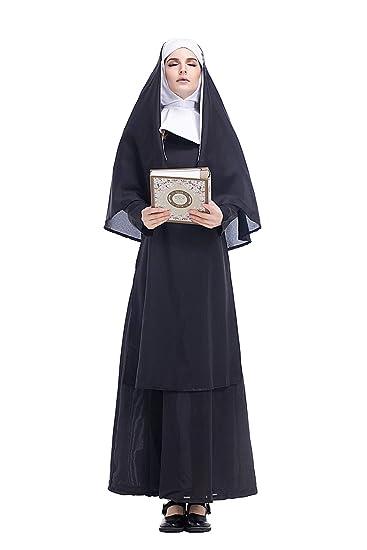 cultofmoon Disfraz De Monja para Mujer Pastor Cosplay Traje ...