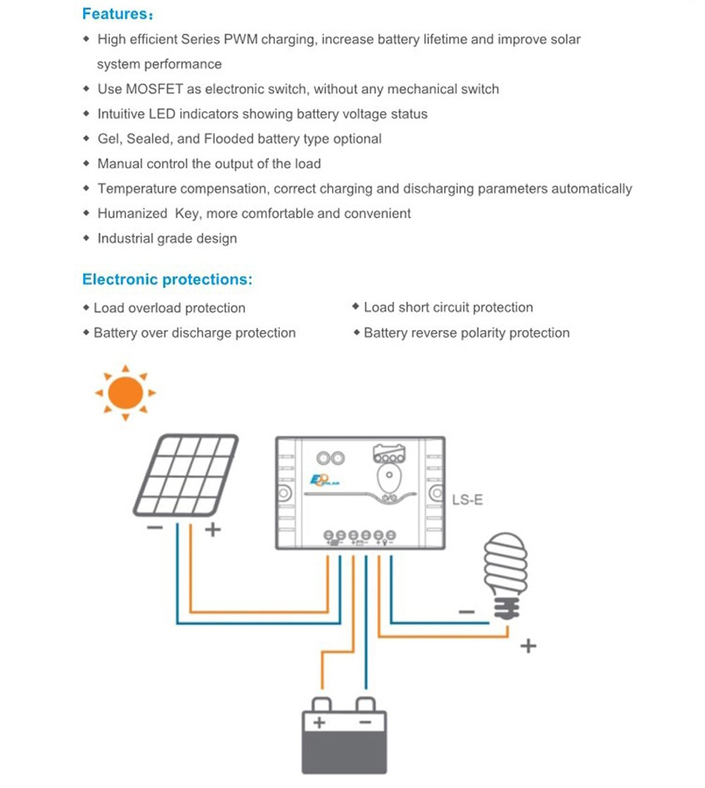 Epsolar Ls0512e 5a 12v Epever Pwm Landstar Solar Charge Controller Circuit Diagram Panel Garden Outdoor
