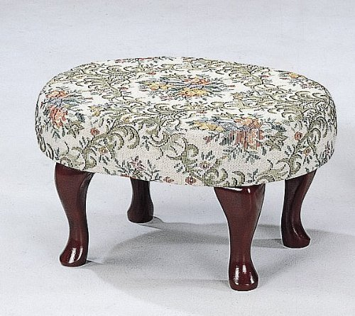 Cherry Footstool (Upholstered Cherry Wood Foot Stool Wooden Footstool MPN: 3422)