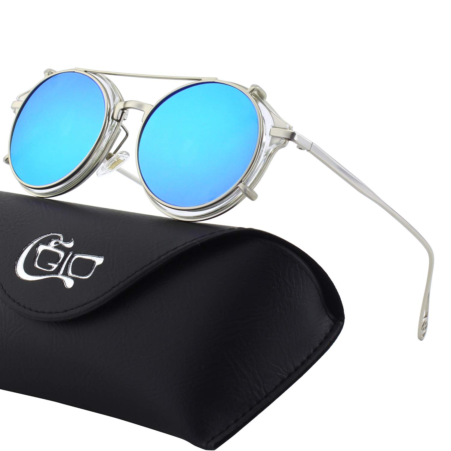 CGID E76 Clip on Sunglasses Polarized Steampunk Retro UV400 Round Men and women 18MJ576-4