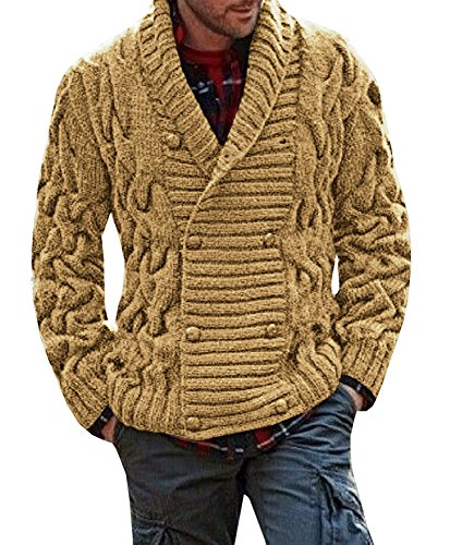Runcati Mens Cardigan Sweater Casual Shawl Collar Striped Cable Knit Jacket Coat (Double Breasted Shawl Collar)