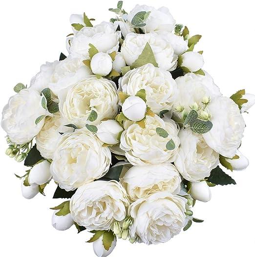 Grande 9 Cabezas Artificial Rosa Flores De Seda Floral Día de San Valentín Boda Blanco