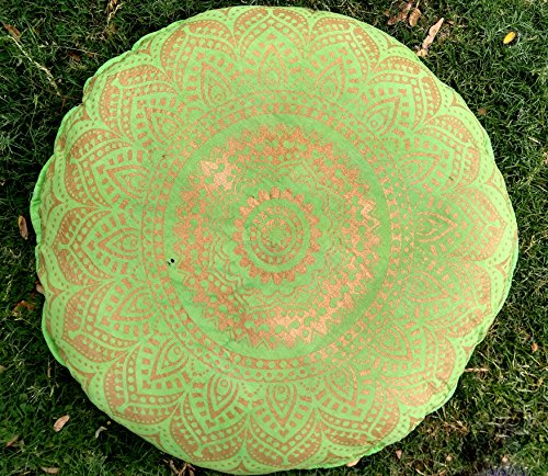 Indian Craft Castle 32'' Gold Mandala Barmeri Large Floor Pillow Cover Cushion Meditation Seating Ottoman Throw Cover Hippie Decorative Zipped Bohemian Pouf Ottoman Poufs, Pom Pom Pillow Cases (Green) by Indian Craft Castle
