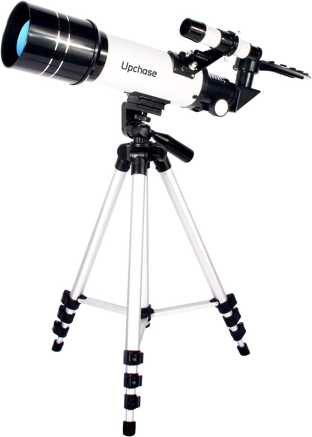 Regalo di Natale per Bambini 400//70mm HD Principianti Treppiede Regolabile-Adattatore Smartphone Osservare La Luna,Stelle,Paesaggio Upchase Telescopio Astronomico Telescopio Rifrattore Bambini