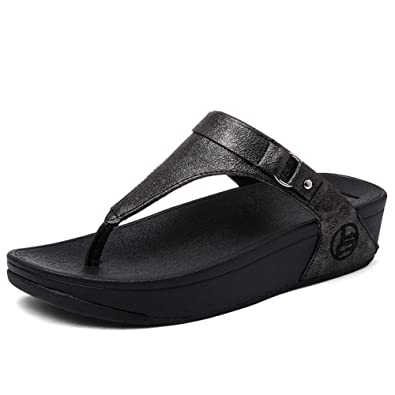 aefd54672 SHAKE Women's Leather Buckle Flip-Flops Summer Fashion Wedge Shoes  Toe-Thong Sandals for