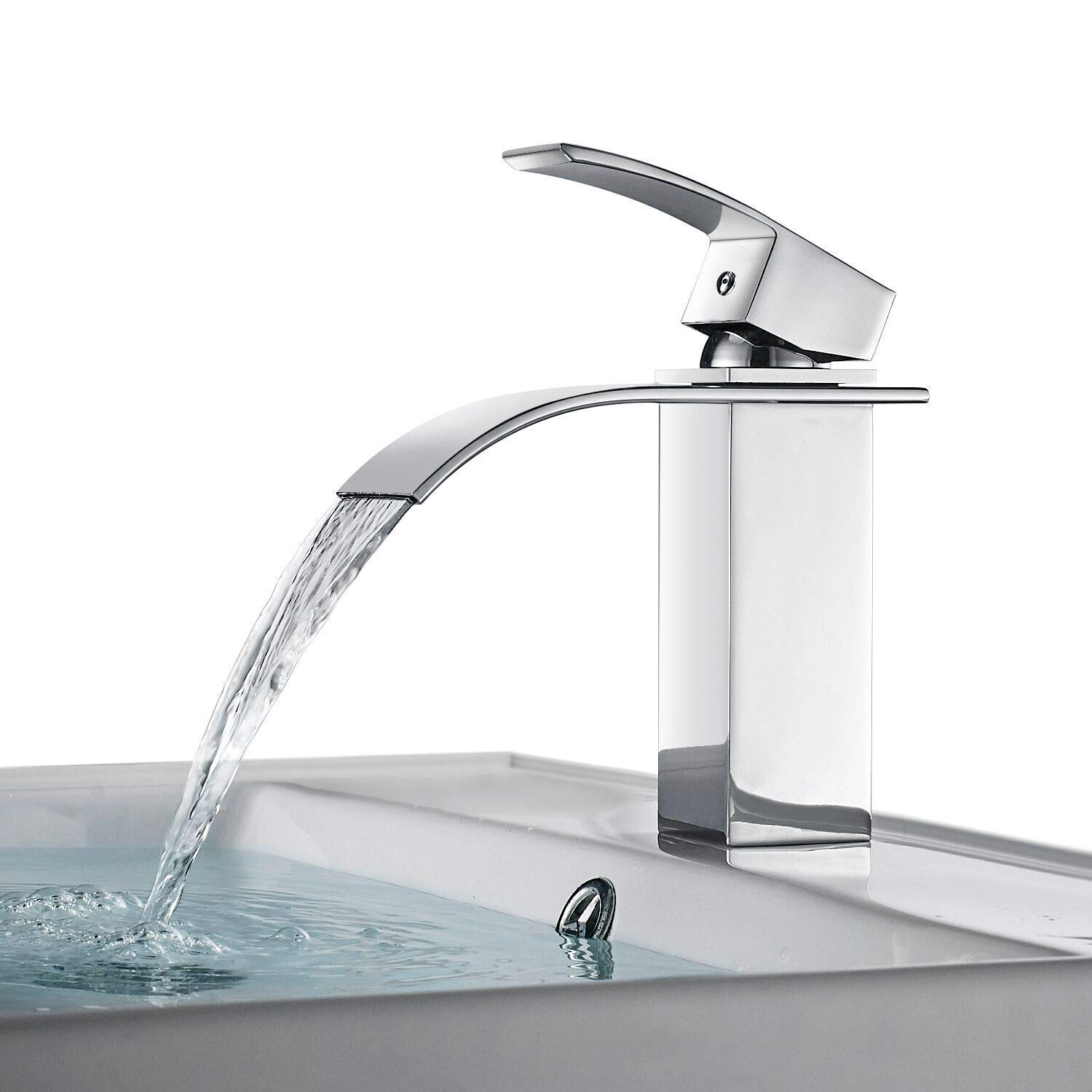 FChome Bathroom Sink Pop-up Drain with Overflow for Vessel Vanity Sink Chrome