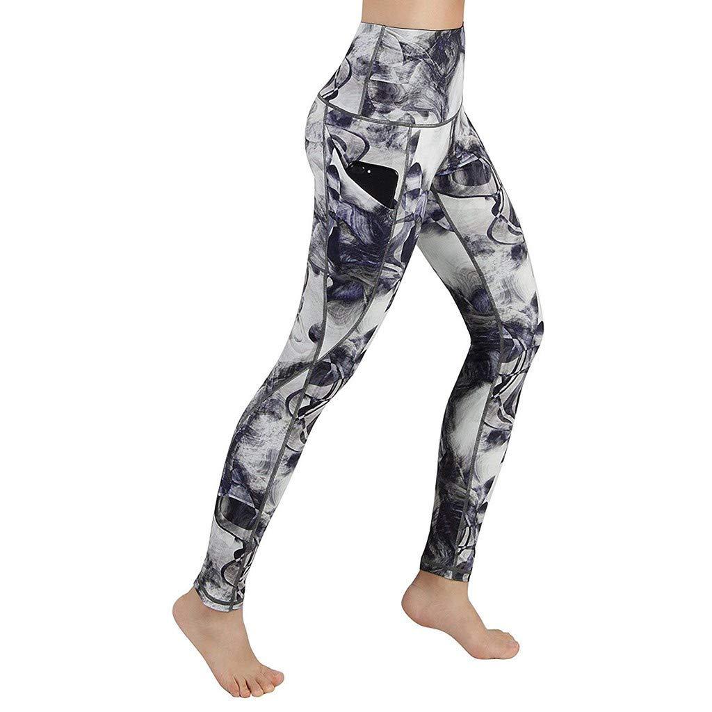 Sttech1 Women High Waisted Yoga Pants Running Capris Tummy Control Workout Leggings