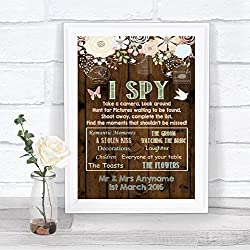 Rustic Wood Effect I Spy Disposable Camera Photos Personalized Wedding Sign