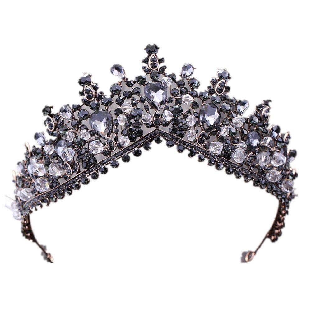 Black Large Big Vintage Crystal Princess Queen Diadem Rhinestone Bridesmaid Bride Crowns and Tiaras for Wedding Party