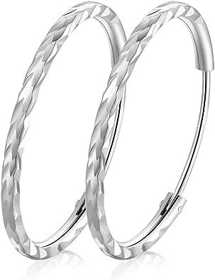 Idée cadeau Bijoux mode Boucles d/'oreilles créoles argentées torsadées 4 cms