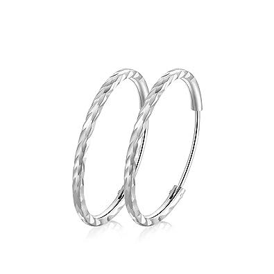 7515307a3aee7 T400 Jewelers 925 Sterling Silver Diamond Cut Sleeper Small Large Hinged  Hoop Earrings,Size:25 35 45 55 65mm