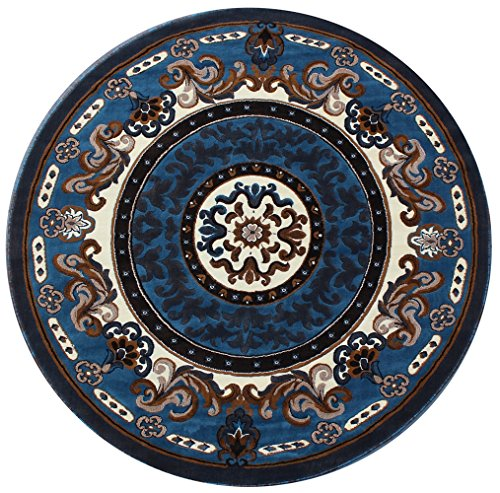 Traditional Area Rug Design Kingdom D 123 Blue Brown (5 Feet X 5 - N Brown Round