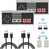 2 Packs Rechargeable NES Wireless Controller, AGPTEK NES Classic Controller Wireless for Nintendo Classic Mini Edition and PC,No-Wired Gamepad Joypad Support Windows/Mac OS/Linux