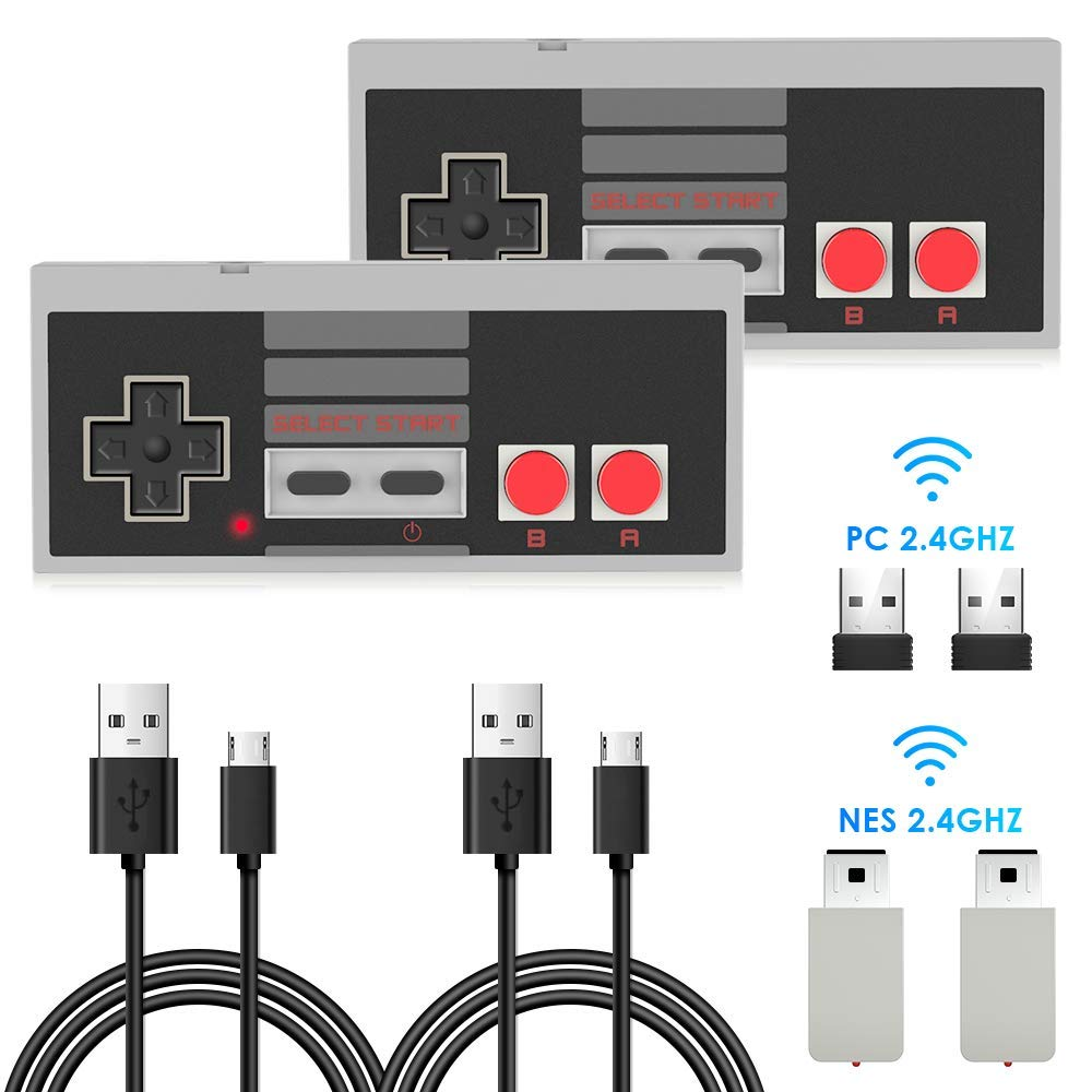 2 Pack NES Wireless Controller, AGPTEK NES Classic Controller Wireless for Nintendo Classic Mini Edition and PC,No-Wired Gamepad Joypad Support Windows/Mac OS/Linux