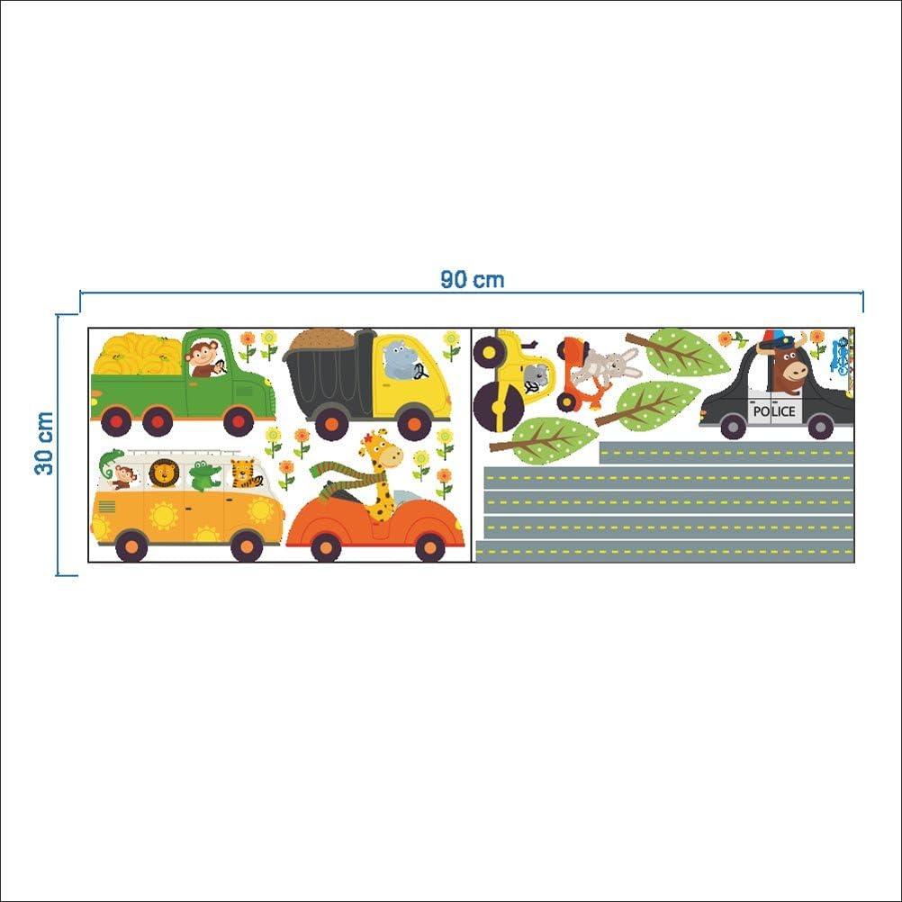 BIBITIME Traffic Lights Road Wall Decals Panda Ambulance Monkey Stop Sign Rabbit Electric Animal Vehicle Zebra Truck OX Motorcycle Police Car Vinyl Sticker for Kids Room Nursery DIY