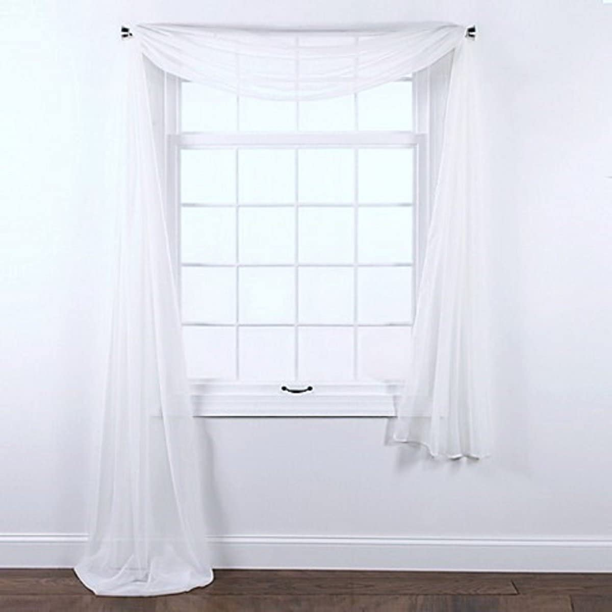 """Gorgeous Home LINEN ( White 1PC Voile Sheer Curtain Panel Rod Pocket Drape/Scarf Swag Valance Window Treatment in Different (1 Scarf 37"""" X 216"""")"""