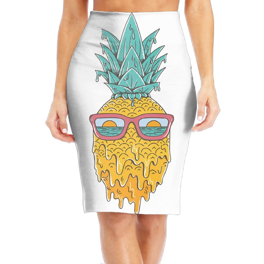 Pineapple Sunset View Glasses Women's Fashion Printed Pencil Skirt by WOAIDY
