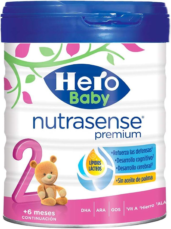 Hero Baby Nutrasense Premium 2 - Leche de Inicio en Polvo para Bebés hasta los 6 Meses, Crecimiento y Desarrollo - Pack de 2 x 800g