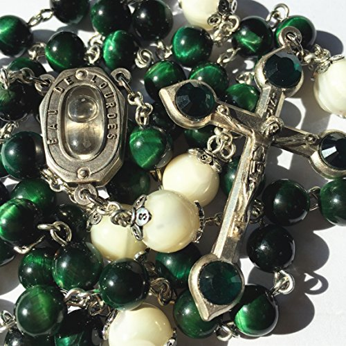 elegantmedical HANDMADE GREEN TIGER EYE BEADS CATHOLIC ROSARY CRUCIFIX NECKLACE Lourdes water Medal (Jade Green Crucifix)