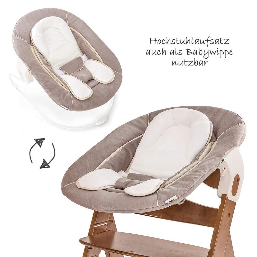 /Évolutive d/ès naissance//Inclus Transat pour nouveau-n/é Coussin assise Hauteur r/églable Noyer//Beige Hauck Alpha Plus Newborn Set Chaise Haute B/éb/é en Bois